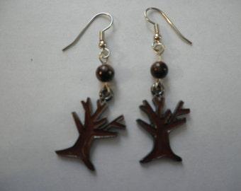Brown Branch Tree Earrings