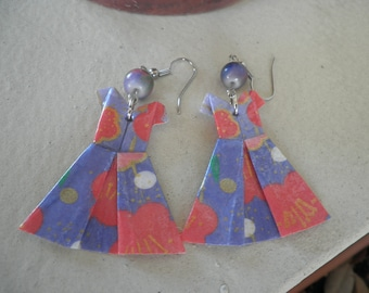 Purple with Design Origami Dress Earrings