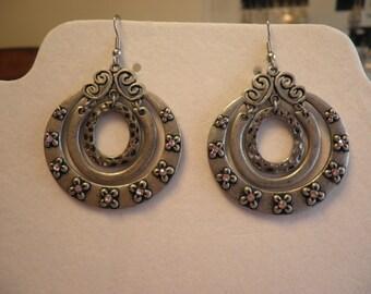 Three Ring Gun Medal Earrings