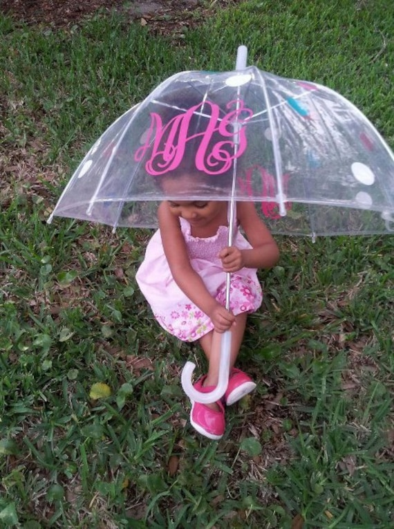 "Small 34"" Little Girl Personalized Monogram Clear Umbrella"