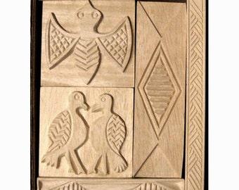 Oshiwa Carved Wood Printing Stamp Set, Birds, Bat, Item 32-52