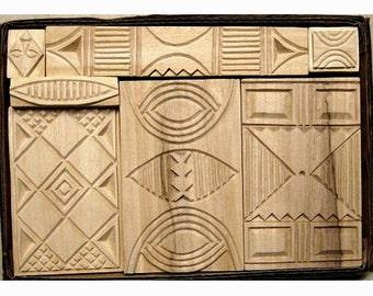 Oshiwa Carved Wood Printing Stamp Set, African Designs, Item 32-25