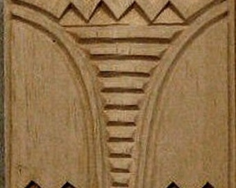 Oshiwa Carved Wood Printing Stamp, Tribal Design, 2.5''x 2.5'', Item 20-11-18