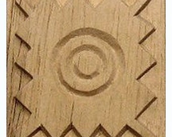 Oshiwa Carved Wood Printing Stamp, Tribal Design, 2.5''x 2.5'', Item 11-7-18