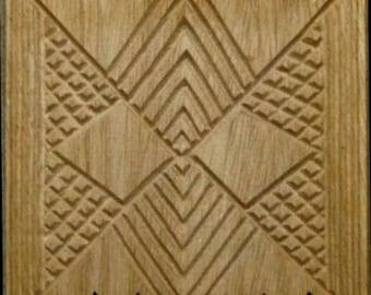 Oshiwa Carved Wood Printing Stamp, Graphic Design, 6''x 6'', Item 18-1-76