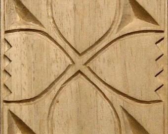 Oshiwa Carved Wood Printing Stamp, Tulip Design, 4.5'' square, Item 9-6-8