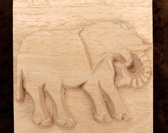 Elephant, African Printing Block Textile Stamp - Carved Textile Stamp, Oshiwa Wood Printing Block, Item 8-13-2