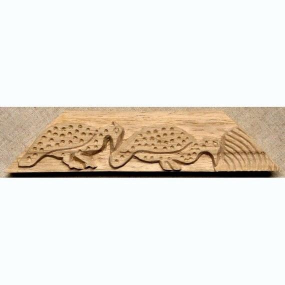 Oshiwa Carved Wood Printing Stamp, Partridge Design, 9.25''x 2.5'', Item 6-5-115