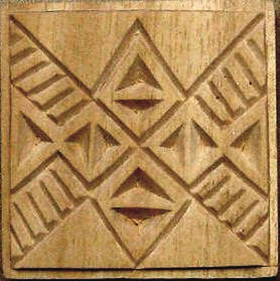 Carved Textile Stamp, African Design, Oshiwa Wood Printing Block, Item 10-23-8