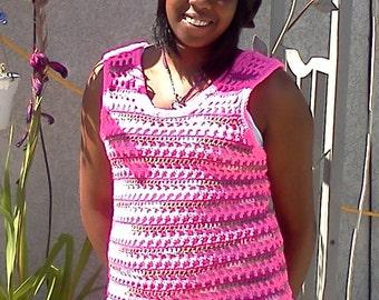 Sale! 20% off! Crochet Pink Tank Top/  women's sweater/ sleeveless sweater