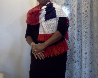 Sale! 20% off...Red White and Blue Crochet Women's Shawl or super-sized scarf