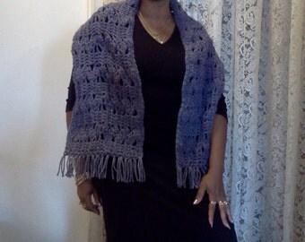 SALE! 20% off...Blue Crochet Scarf or Shawl