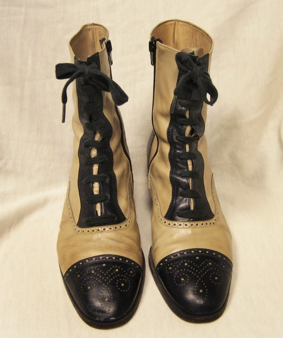 Victorian-Style 70s Italian Leather Oxford Ankle Boots