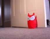 Herbert  the sleepy owl doorstop - Scarlet and Sky Blue