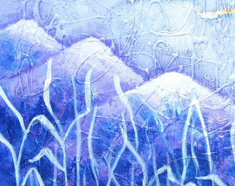 "Original painting - blue color painting, acrylic on canvas board, fine art with texture work, ""Night Life"", size 12""x16"""