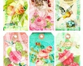 6 Vintage Birds Nest Egg Rose Butterflies Kitty Cat Paris French Shabby Candle ACEO Background Labels Digital Collage Sheet Images Sh095
