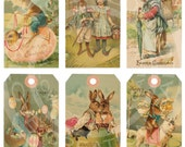 Vintage Shabby Easter Bunnies Chick Children Book ACEO card Labels Tea Party gift Hang Tags Digital Collage Sheet clip art Images Sh040