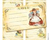 Vintage Princess Doll Daughter Girls Children Tea Wedding Party Note Cards invitation Label Gift Tag Digital Collage Sheet Images Sh022