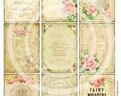 9 Vintage Victorian Flower Rose Frames Postcard ledge Border French Shabby Frame Gift Tag Box Label Card Digital Collage Sheet Images Sh150