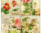 4x5 Vintage Birds Flower Rose Butterfly Botanical ledge French ATC Background Gift Tags Labels Note Cards Digital Collage Sheet Images Sh156