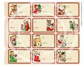 Vintage Christrmas Tea Party Girl Boy Deer Santa Tree Children invitation Card Gift Tag Label Digital Collage Sheet Images Sh217