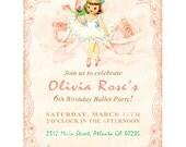 Digital PRINTABLE Vintage Celebrate Birthday Ballerina Dancer Rose Party Ballet Girl Daughter Princess Children Invitation Cards Sheet IN17