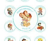 Vintage CowBoy CowGirl Baby West Wild Celebrate Tea Story Handmade Cupcake Cake Topper Circle Bottle cap Party Candy bag Label Images Sh243