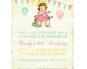 Digital PRINTABLE Vintage Celebrate Birthday Shabby Chic Tea Party Girl Daughter Princess Children Baby Shower Invitation Cards Sheet IN19