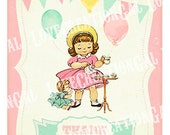 Digital PRINTABLE Vintage Thank you Card Celebrate Birthday Banner Doll Teapot Tea Cup Party Girl Daughter Note Gift Tags Images Sheet Sh251