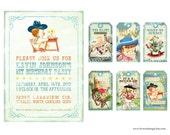 Digital PRINTABLE Vintage Baby Boy COWBOY Cowgirl Birthday Tea Party Shower Pregnacy Invitation Label Gift Favor Tag Card Sheet IN27