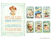 Digital PRINTABLE Vintage Baby COWBOY Boy Girl Shower Pregnacy Nursery Baby Shower Birthday Party Invitation Label Favor Cards Sheet IN07
