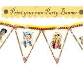 Printable Vintage Cowboy Birthday Baby shower Tea Party Celebrate Handmade Banner Flag Burlap Postcard Digital Sheet Images Sh257