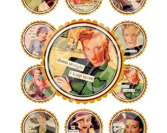 Vintage Retro Tea Party Lover Lady Woman Sexy Pin Up Girl 1950s Cupcake Topper Circle card Label Gift Tag Digital Collage Sheet Images Sh100