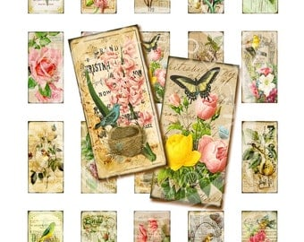 1x2 inch Digital Vintage Victorian Flower Rose Bird Nest ledge French domino GLASS TILE soldered pin Gift Tag Collage Sheet Images Sh056