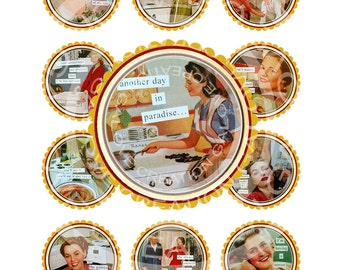 Vintage Retro Mother Day Tea Party Lady Woman Sexy Pin Up Girls 1950s Cupcake Toppers Circle Bottle Caps Digital Collage Sheet Images Sh052