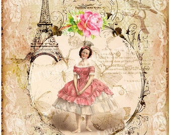 5x7 Printable Art Digital Images Vintage Victorian Marie Antoinette Rose Butterflies Paris Eiffel Tower French Stained Frame ACEO Card Sh092
