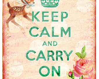 8x10 Digital Images Vintage Keep Calm Carry On Whimsical Rose Deer Paris French Frame ACEO postcard iron on transfer craft Card Sheet Sh121