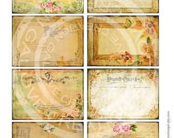 Vintage Victorian Box Jar Labels Flower Rose Frames Postcard ledge Paper Ephemera Shabby Gift Tags Card Digital Collage Sheet Images Sh122