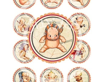 Vintage Baby Shower Boy Girl Pregnancy Cupcake Topper Ornaments Birthday Tea Party Circle Labels Tags Digital Collage Sheet Images Sh157