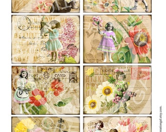 Vintage Victorian Marie Antoinette Fairy Angel Girl Box Jar Labels Flower Rose Postcard Gift Tags Card Digital Collage Sheet Images Sh194