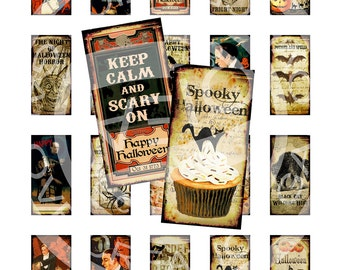 Vintage Halloween Witches Spider Skeletons Party Pumpkin Cat Bat 1 x 2 inch domino GLASS TILE Labels Digital Collage Sheet Images Sh200