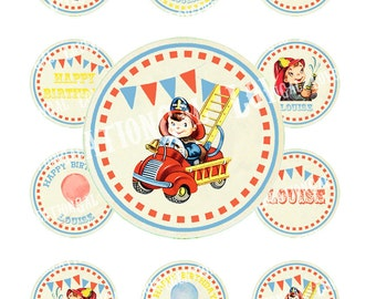 Vintage Fire Engine Firefighter Boy Children Party Celebrate Birthday Cupcake Cake Topper Circle Label Digital Collage Sheet Images Sh248