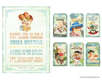 Digital PRINTABLE Vintage Baby COWBOY Boy Girl Shower Pregnacy Nursery Baby Shower Birthday Party Invitation Label Favor Cards Sheet IN07