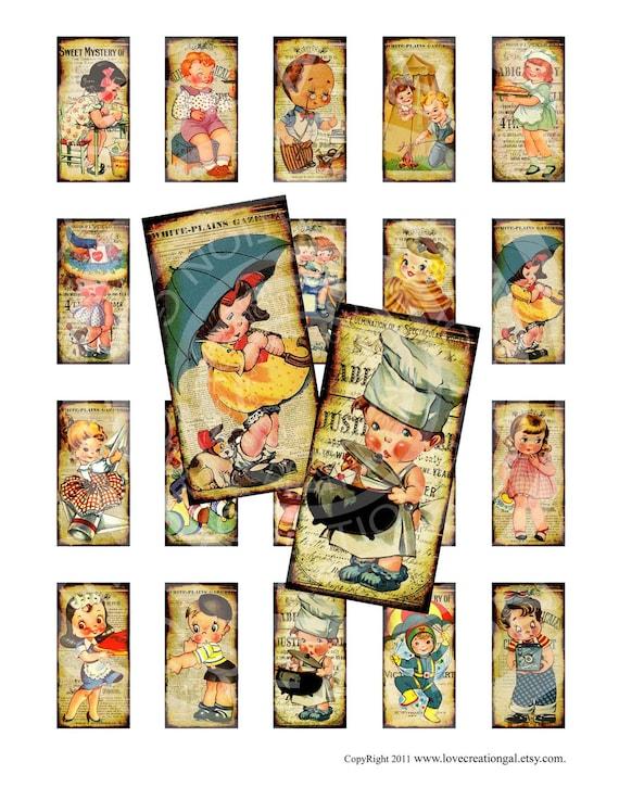 Vintage Retro Boy Girl Children Tea Party Bird 1x2 inch domino GLASS TILE pendant necklaces Sticker Digital Collage Sheet Images Sh075