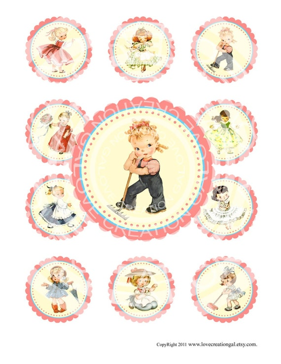 Printable Digital Vintage Girl Birthday Tea Party Celebrate Children Cupcake Cake Topper Circle Labels Sticker Gift Tag Sheet Images Sh083