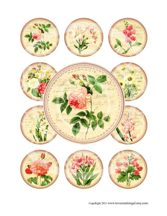 Vintage Rose Flowers Tea Party French Antique Botanical Cupcake Topper Circle Bottle Cap Labels Stickers Digital Collage Sheet Images Sh114
