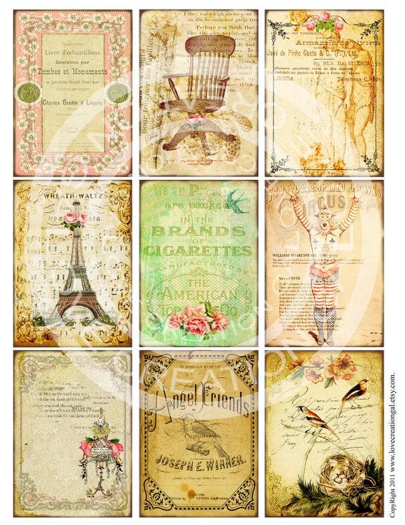 9 Vintage Victorian Flower Rose Frames Postcard ledge Border French Handmade Gift Tags Labels Card Digital Collage Sheet Images Sh120
