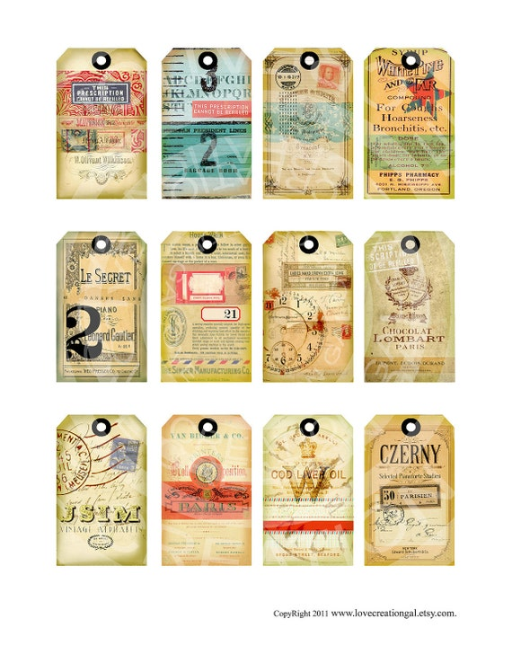 Vintage ledge Background texture Fabric Gift Price Tags Paris French Antique Shabby ACEO Handmade Labels Digital Collage Sheet Images Sh140