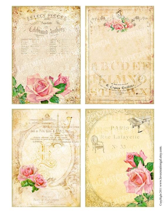 vintage victorian flower rose frames postcard ledge border french shabby frame gift tag box label card