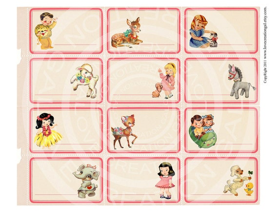 Vintage Birthday Tea Party Girl Boy Deer Lamb Animal Children illustration invitation Gift Tags Digital Collage Sheet Images Sh160